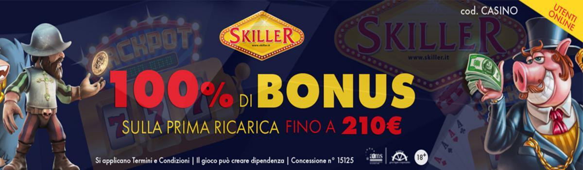 Bonus Casino - 100% della prima ricarica fino a 210€. cod. CASINO